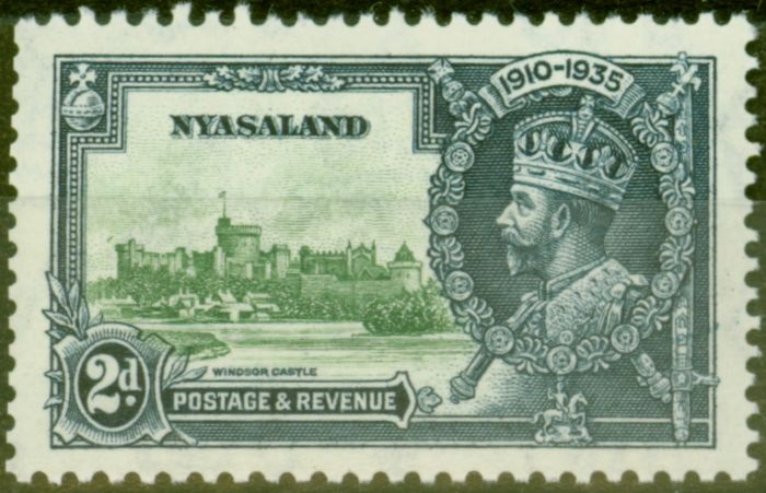 Collectible Postage Stamp from Nyasaland 1935 2d Green & Indigo SG124m Bird by Turret V.F Lightly Mtd Mint
