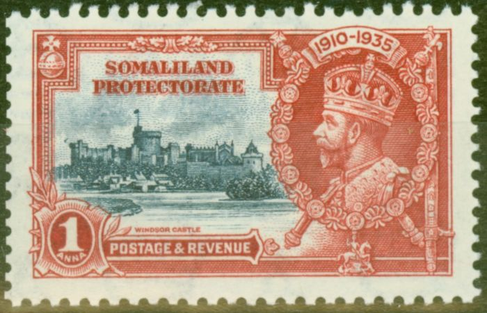Valuable Postage Stamp from Somaliland 1935 1a Dp Blue & Scarlet SG86m Bird by Turret V.F Very Lightly Mtd Mint