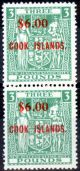 Cook Islands 1967 $6 on £3 Green SG220 Fine MNH Vert Pair