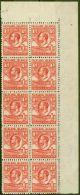 Falkland Islands 1936 1d Dp Red SG117a Line Perf Fine MNH Block of 10