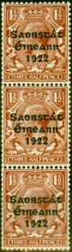Ireland 1923 1 1/2d Red-Brown SG69 Harrison Coil Very Fine MNH Strip of 3
