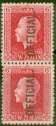 New Zealand 1915 6d Carmine SG0102c Vert Pair 0102 & 0102b Fine Mtd Mint