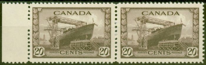 Old Postage Stamp from Canada 1942 20c Chocolate SG386 V.F MNH Pair