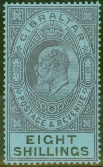 Valuable Postage Stamp from Gibraltar 1903 8s Dull Purple & Black-Blue SG54 Fine & Fresh Lightly Mtd Mint (3)