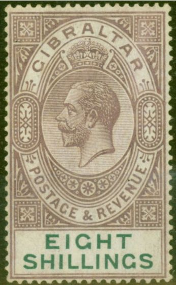 Collectible Postage Stamp from Gibraltar 1924 8s Dull Purple & Green SG101 Fine Lightly Mtd Mint