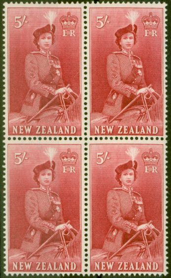 Old Postage Stamp from New Zealand 1954 5s Carmine SG735 V.F MNH Block of 4