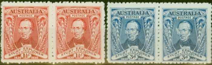 Valuable Postage Stamp from Australia 1930 Sturt set of 2 SG117-118 in Fine Mtd Mint Pairs