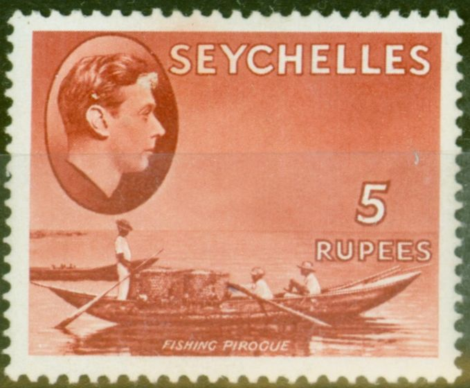 Rare Postage Stamp from Seychelles 1938 5R Red SG149 Fine Lightly Mtd Mint