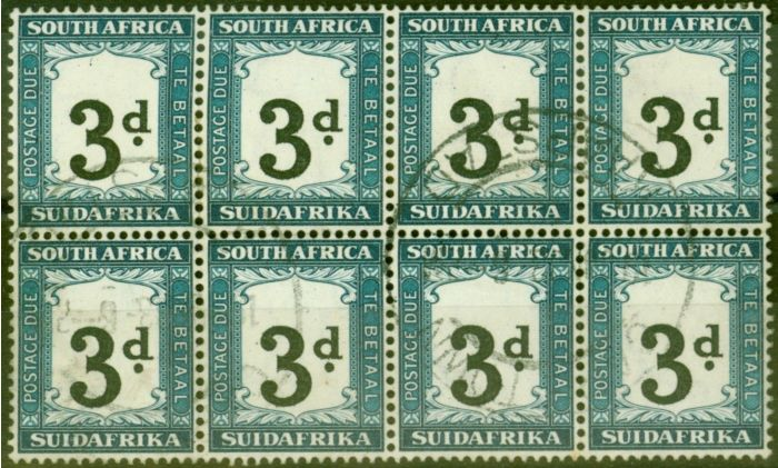 Rare Postage Stamp from South Africa 1932 3d Black & Prussian Blue SGD27 V.F.U Block of 8
