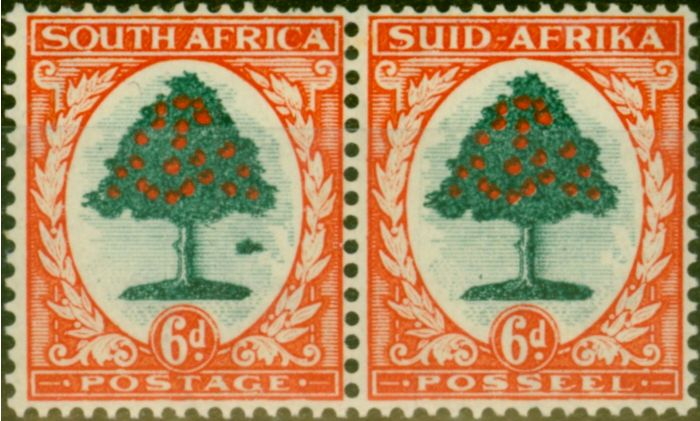 Collectible Postage Stamp from South Africa 1937 6d Green & Vermilion SG61b Molehill Variety Fine MNH
