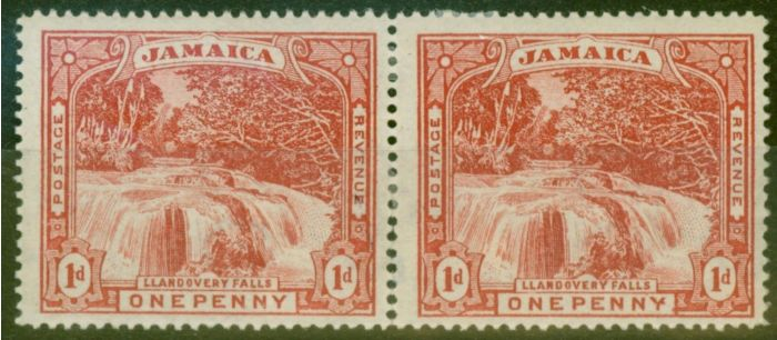 Old Postage Stamp from Jamaica 1900 1d Red SG31 Fine Mtd Mint Pair