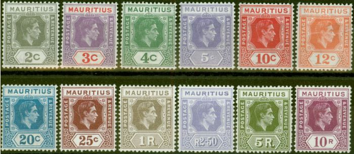 Rare Postage Stamp from Mauritius 1938 set of 12 Chalk Papers SG252-263 Fine Mtd Mint