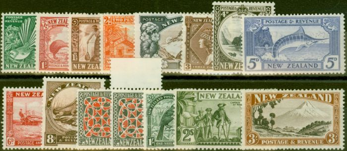 Valuable Postage Stamp from New Zealand 1936-38 set of 15 SG577-590 V.F Very Lightly Mtd Mint