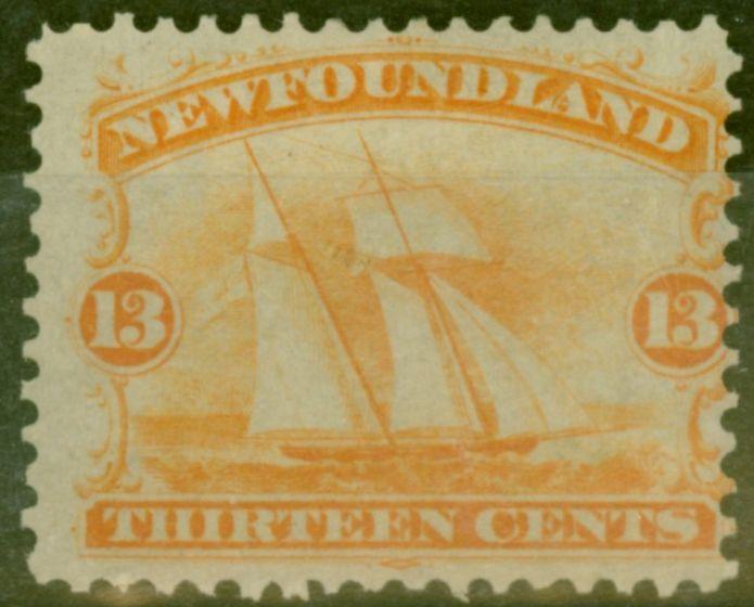 Rare Postage Stamp from Newfoundland 1865 13c Orange-Yellow SG29 Mtd Mint