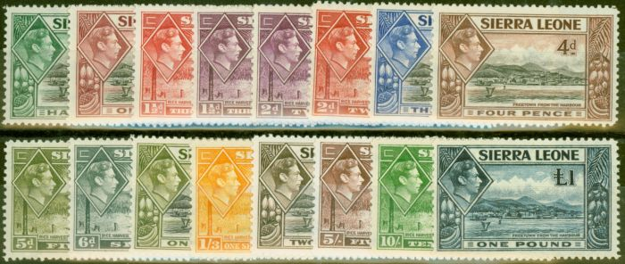 Old Postage Stamp from Sierra Leone 1938-44 set of 16 SG188-200 Fine Lightly Mtd Mint