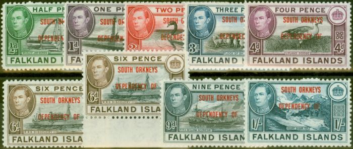 Valuable Postage Stamp from South Orkneys 1944-45 set of 9 SGC1-C8 Both 6d`s V.F Very Lightly Mtd Mint