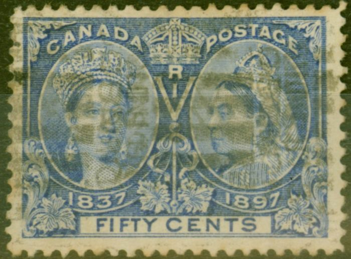 Collectible Postage Stamp from Canada 1897 50c Brt Ultramarine SG135 Good Used