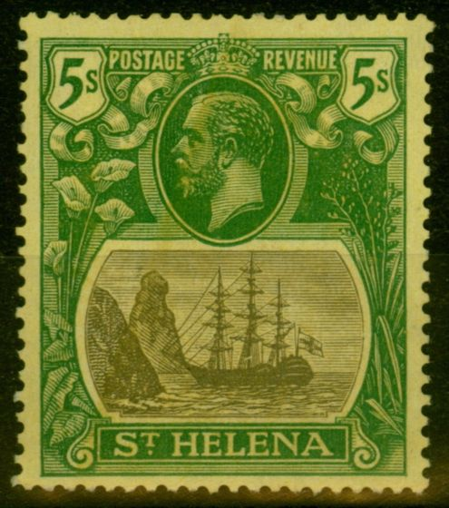 Valuable Postage Stamp from St Helena 1927 5s Grey & Green-Yellow SG110a Broke Mainmast Fine Mtd Mint Scarce