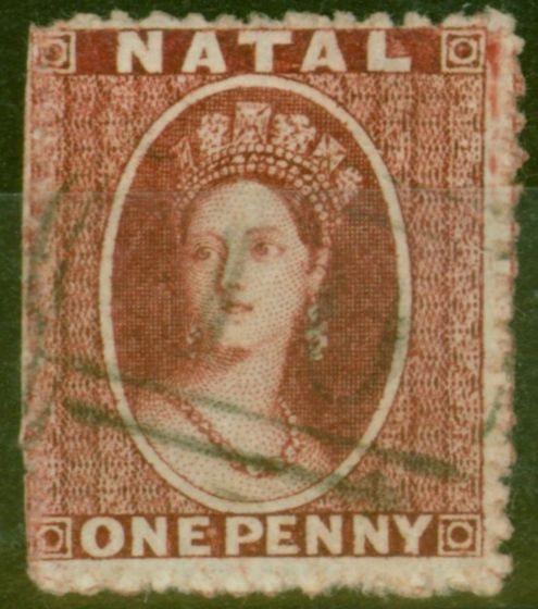 Valuable Postage Stamp from Natal 1863 1d Carmine-Lake SG19 Thick Paper P.13 Fine Used