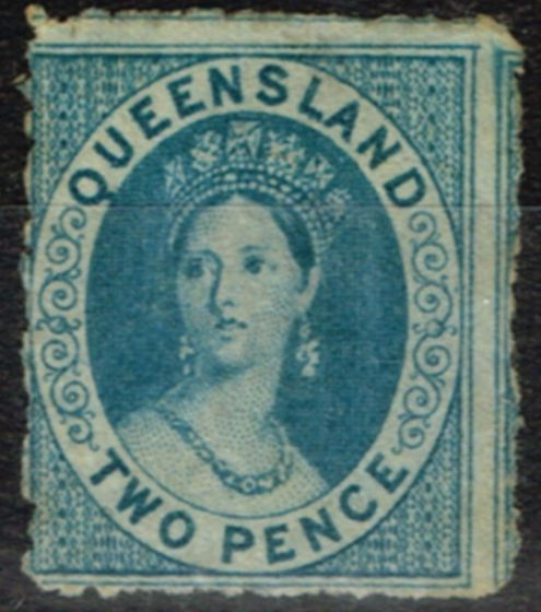 Old Postage Stamp from Queensland 1865 2d Dp Blue SG46 Small Star P.13 Fine & Fresh Unused