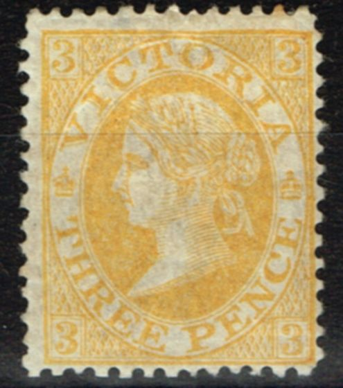Old Postage Stamp from Victoria 1869 3d Yellow-Orange SG134 P.13 Fine Mtd Mint