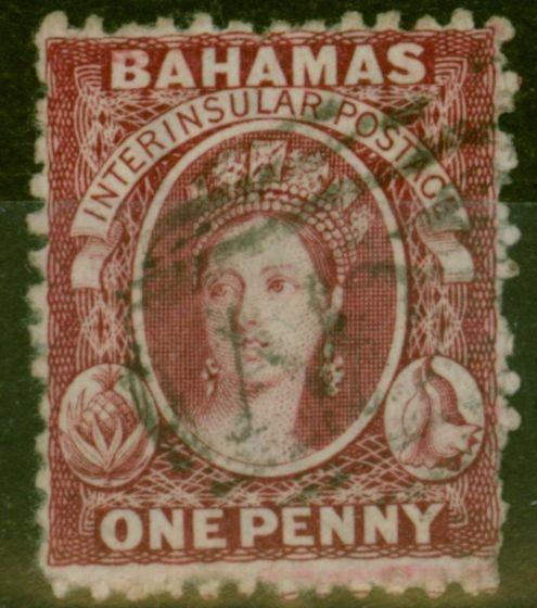Rare Postage Stamp from Bahamas 1863 1d Carmine-Lake SG21 V.F.U