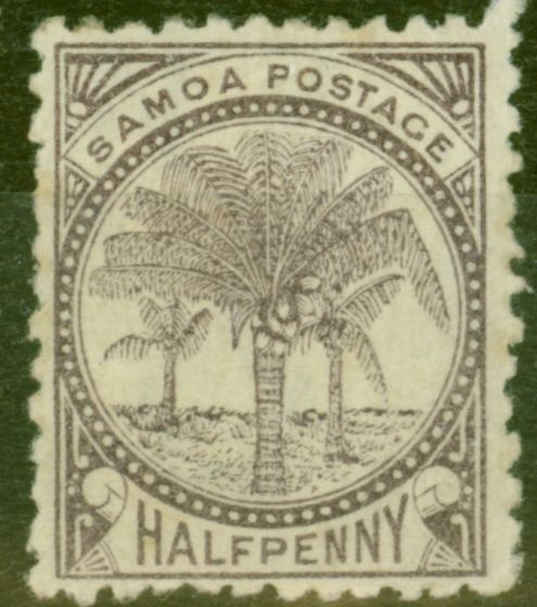 Old Postage Stamp from Samoa 1887 1/2d Purple-Brown SG27 P.12.5 Wmk 4a Fine Mtd Mint