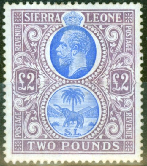 Rare Postage Stamp from Sierra Leone 1912 £2 Blue & Dull Purple SG129 Fine Lightly Mtd Mint
