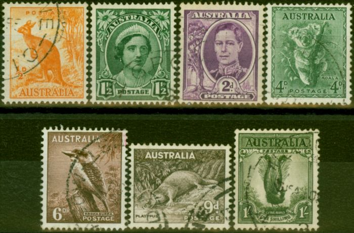 Rare Postage Stamp from Australia 1948-56 Set of 7 SG228-230d Fine Used