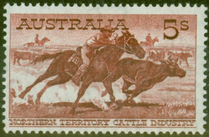 Collectible Postage Stamp from Australia 1964 5s Red-Brown White Paper V.F MNH