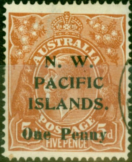 New Guinea 1918 1d on 5d Brown SG100 Very Fine Used