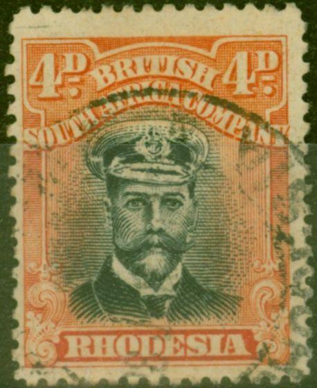 Valuable Postage Stamp from Rhodesia 1922 4d Black & Orange-Vermilion SG294 Fine Used