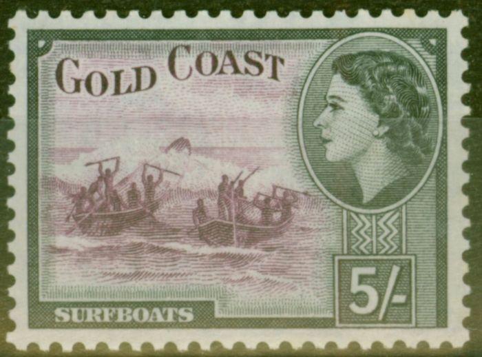 Valuable Postage Stamp from Gold Coast 1954 5s Purple & Black SG163 V.F MNH
