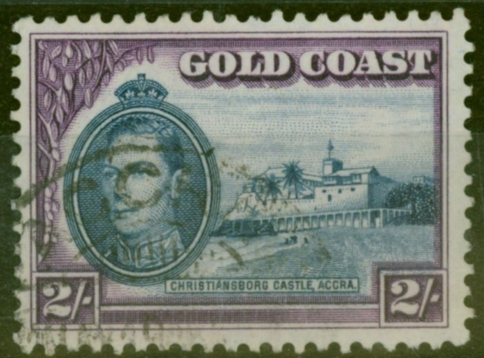 Old Postage Stamp from Gold Coast 1938  2s Blue & Violet SG130 P.12 Fine Used