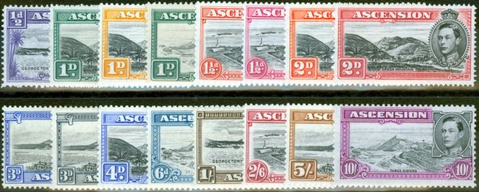 Rare Postage Stamp from Ascension 1938-49 set of 16 SG38b-47b Fine Mounted Mint