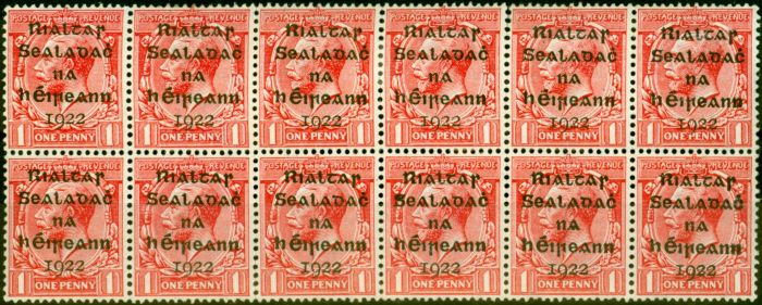 Rare Postage Stamp from Ireland 1922 1d Scarlet SG2 Fine Mtd Mint & MNH Block of 12