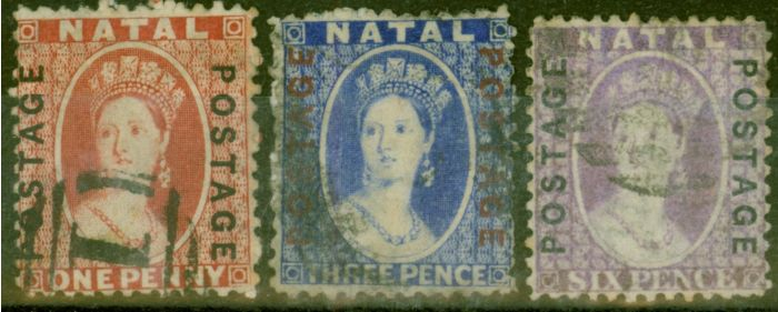 Rare Postage Stamp from Natal 1870-73 Opt set of 3 SG60-62 Fine Used