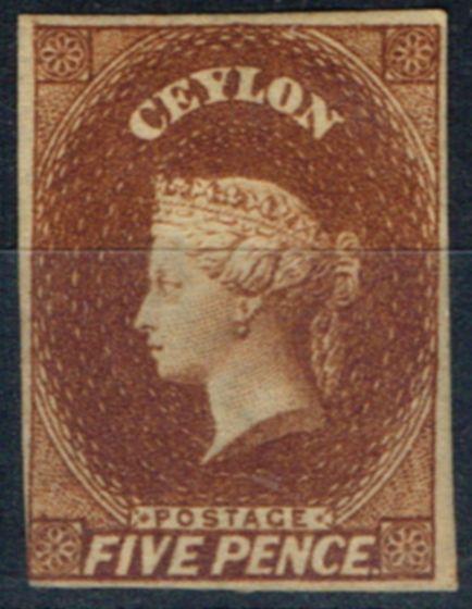 Rare Postage Stamp from Ceylon 1857 5d Chestnut SG5 Fine & Fresh Unused
