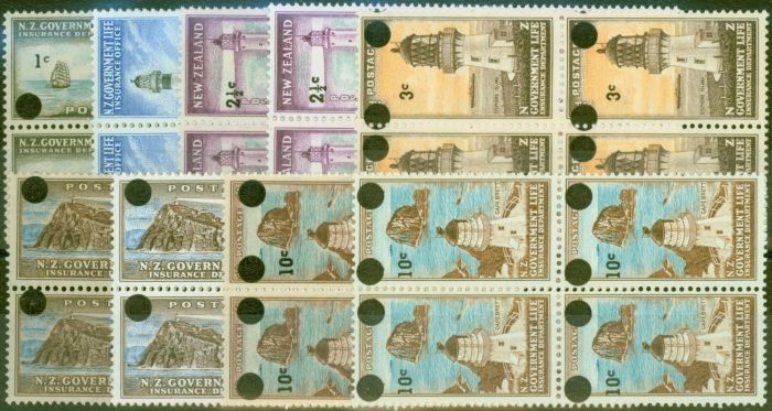 Valuable Postage Stamp from New Zealand 1967-68 set of 9 SGL50-55a V.F MNH in Blocks of 4
