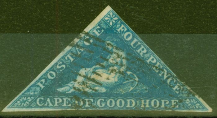 Collectible Postage Stamp from Cape of Good Hope 1853 4d Dp Blue SG2 Fine Used