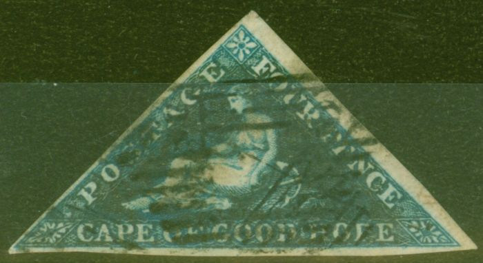 Valuable Postage Stamp from Cape of Good Hope 1853 4d Dp Blue SG2 Fine Used