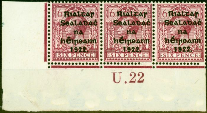 Rare Postage Stamp from Ireland 1922 6d Dp Reddish Purple SG14a Fine Mtd Mint Control U22 Pl 6 Strip of 3