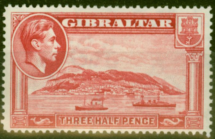 Old Postage Stamp from Gibraltar 1938 1 1/2d Carmine SG123 Fine Lightly Mtd Mint