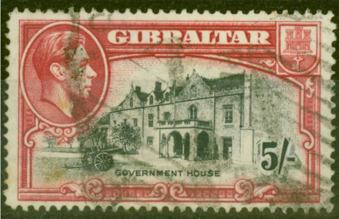 Old Postage Stamp from Gibraltar 1938 5s Black & Carmine SG129 P.14 Ave Used