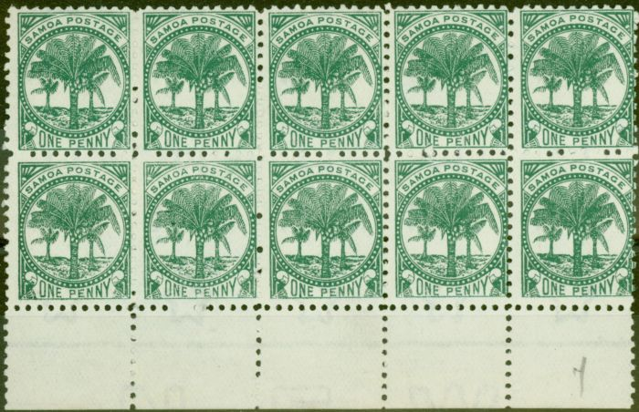Valuable Postage Stamp from Samoa 1897 1d Bluish Green SG58a P.11 Fine Unused Block of 10