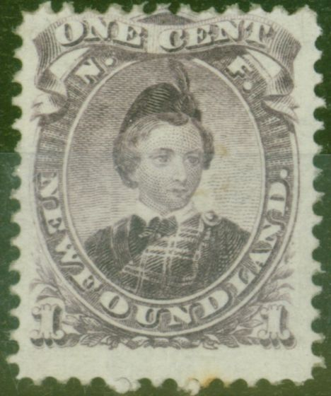 Old Postage Stamp from Newfoundland 1868 1c Dull-Purple SG34 Type I Fine Unused