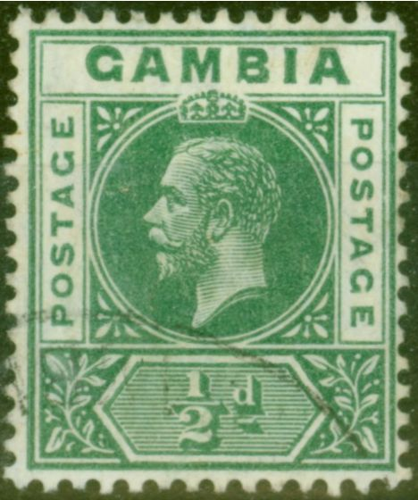 Rare Postage Stamp from Gambia 1912 1/2d Dp Green SG86var Deformed B in GAMBIA Fine Used