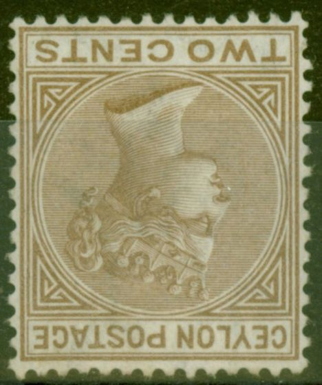 Collectible Postage Stamp from Ceylon 1872 2c Pale Brown SG121w Wmk Inverted Fine & Fresh Lightly Mtd Mint