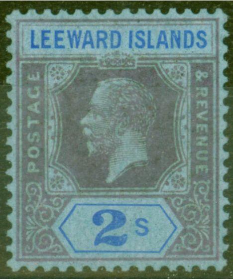 Old Postage Stamp from Leeward Islands 1922 2s Purple & Blue-Blue SG74 Fine Very Lightly Mtd Mint