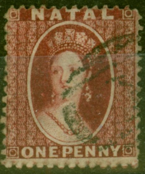 Old Postage Stamp from Natal 1863 1d Carmine-Lake SG19 Thick Paper P.13 Fine Used.
